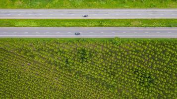 Aerial view of cars on roads photo