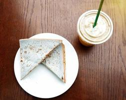 Top view and close up of breakfast bread and ice coffee