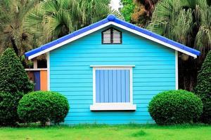 casa de madera colorida