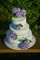 Wedding cake with hydrangeas photo