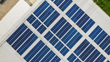 Solar cells on a roof photo