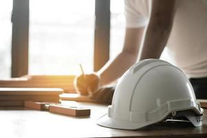 Hard hat on a table photo