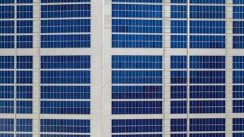 Aerial view of solar panels photo