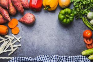 Fresh vegetable border photo