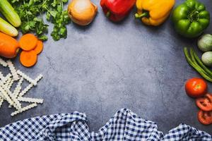 Fresh vegetables and top view mix photo