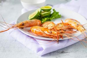 Shrimp on a plate photo