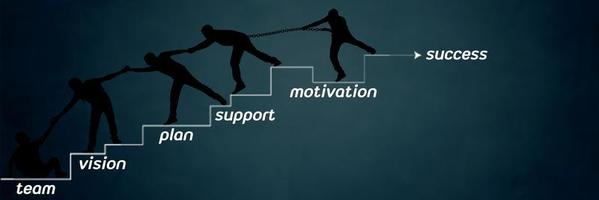 Team of people climbing to success photo