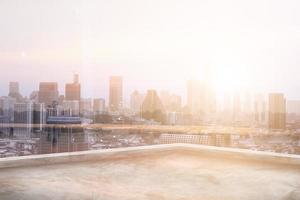 Double exposure of city background and roof top photo