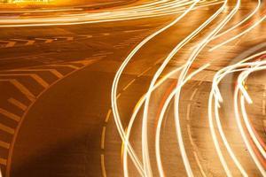 Long exposure shot of moving cars at night photo