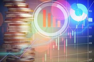 monedas con superposición del mercado de valores foto