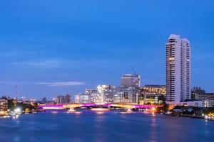 Buildings of Bangkok at sunset photo