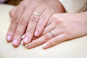 Primer plano de una imagen de un hombre y una mujer tomados de la mano con anillos de boda