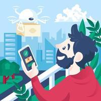 envío de productos sin contacto con drones vector