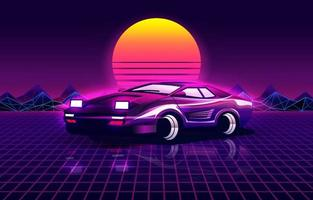 Retro futuristic background with 80's style sport car vector