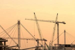 Cranes on a construction site photo