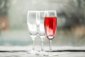 Glasses of wine in a restaurant photo