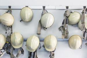Old and worn construction helmets