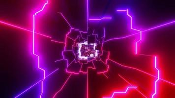 Blue, red, and white lights and shapes in kaleidoscope 3d illustration for background or wallpaper