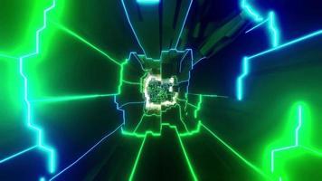 Luces y formas azules, verdes y blancas en la ilustración 3d de caleidoscopio para fondo o papel tapiz