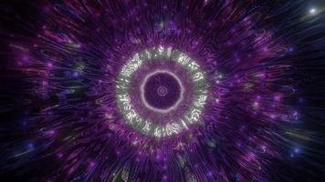 Luces y formas azules y púrpuras en la ilustración 3d del caleidoscopio para el fondo o papel tapiz foto