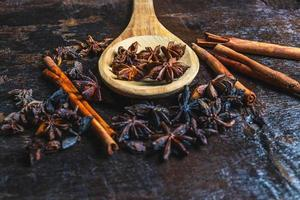 Cinnamon and anise with spoon