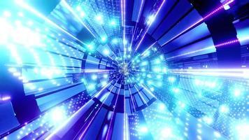 luces y formas púrpuras, azules y blancas en la ilustración 3d del caleidoscopio para el fondo o papel tapiz foto