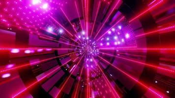 Luces y formas púrpuras, rojas y blancas en la ilustración 3d del caleidoscopio para fondo o papel tapiz foto