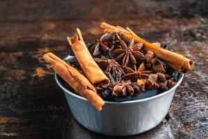 Close-up of a bowl of cinnamon and anise