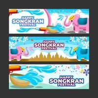 Happy Songkran Festival Banner Set vector