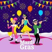 Desfile de Mardi Gras con disfraz y máscara. vector