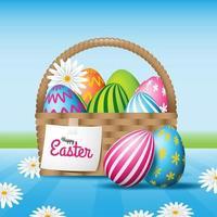 Easter Egg Basket with Daisy Flower vector