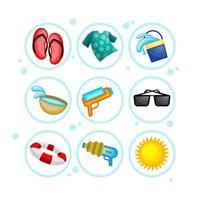 Happy Songkran Festival Icon Set vector