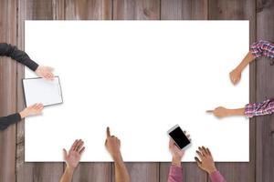 vista superior de la reunión del equipo de negocios