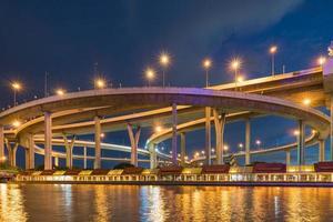 Bhumibol Bridge in twilight photo
