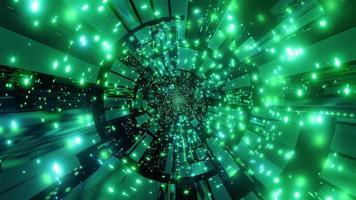 Ilustración 3d de luces y formas verdes para fondo o papel tapiz