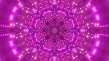Purple abstract flower-shaped lights tunnel 3d illustration background wallpaper artwork