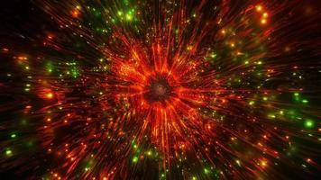 Ilustración 3d de caleidoscopio verde y rojo para fondo o papel tapiz foto