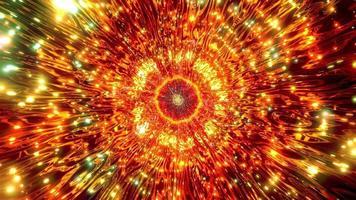 Ilustración 3d de caleidoscopio naranja y verde para fondo o papel tapiz foto
