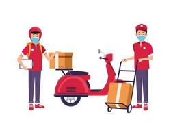 delivery workers with face masks in motorcycle and cart vector