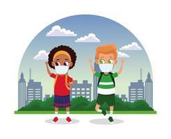 niños interraciales usando máscaras faciales para covid19 en la ciudad vector