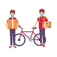 trabajadores de entrega con mascarillas y bicicleta vector