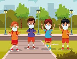 Niños interraciales usando mascarillas para covid19 en el parque vector