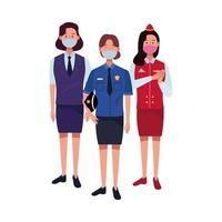 female workers using face masks for covid19 vector