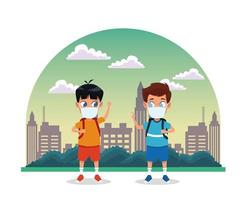 little boys using face masks for covid19 in the city vector
