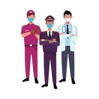 trabajadores masculinos que usan máscaras faciales para covid 19 vector