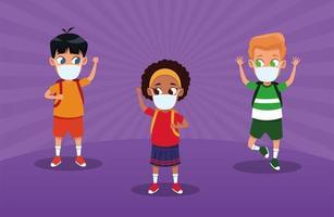 niños interraciales usando máscaras faciales para covid19 vector
