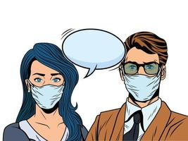 business couple using face masks for covid19 with speech bubble vector
