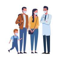 médico con familia usando mascarillas para covid 19