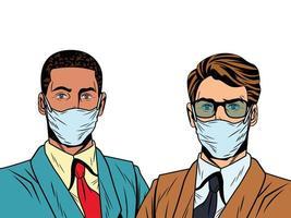 Hombres de negocios interraciales que usan máscaras faciales para covid19 vector