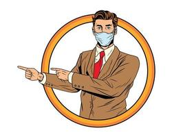 businessman using face mask for covid19 vector